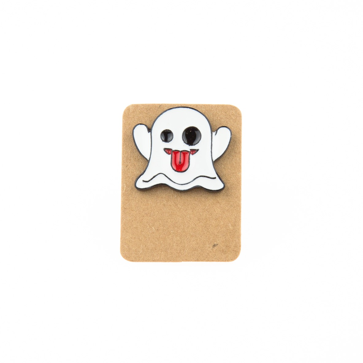 Metal Ghost Tongue Out Enamel Pin Badge
