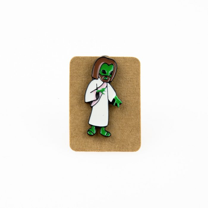 Metal Alien Jesus Enamel Pin Badge