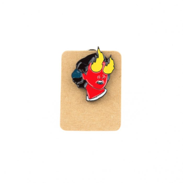 Metal Red Woman Flame Eye Enamel Pin Badge
