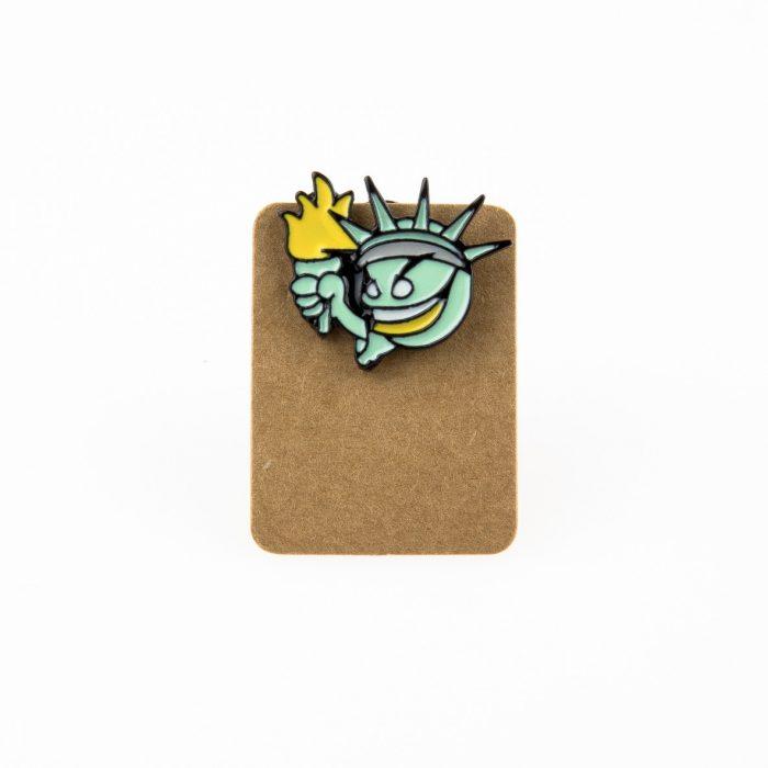 Metal Emoji Statue of Liberty Enamel Pin Badge