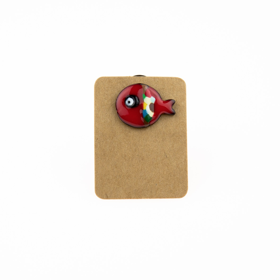 Metal Red Fish Devil Eye Enamel Pin Badge