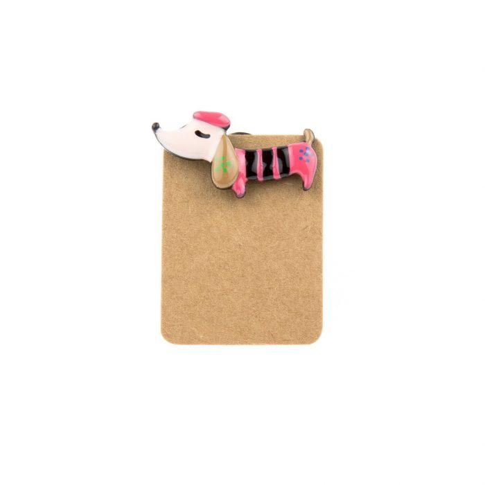 Metal Pink Dog Sausage Enamel Pin Badge