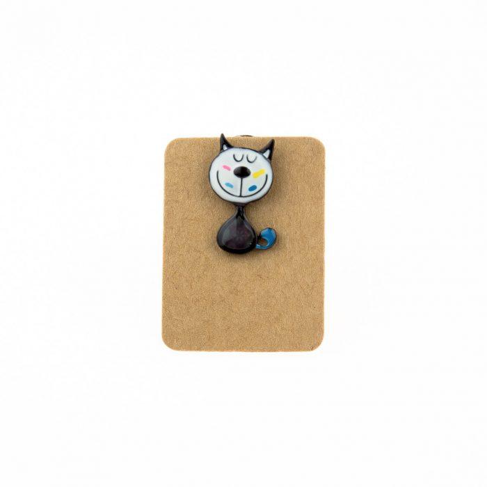 Metal Happy Cat Enamel Pin Badge