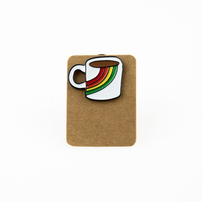 Metal Rainbow Coffee Mug Enamel Pin Badge