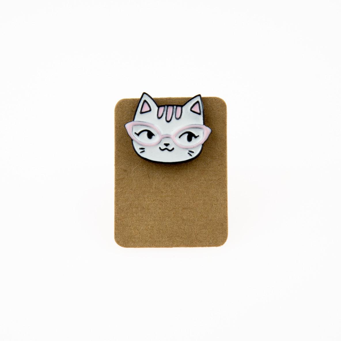 Metal Cat Pink Glass Enamel Pin Badge