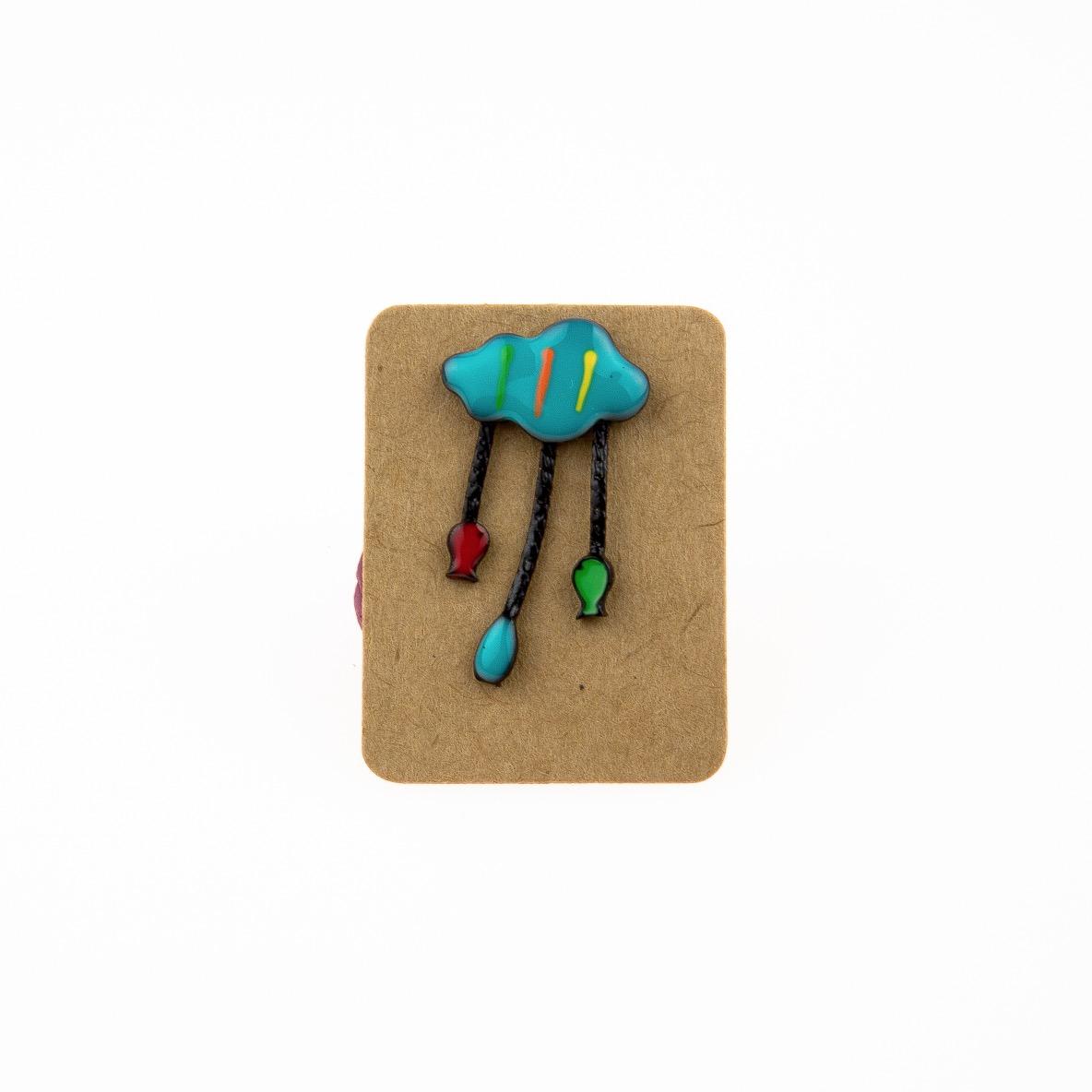 Metal Blue Cloud Fish Enamel Pin Badge