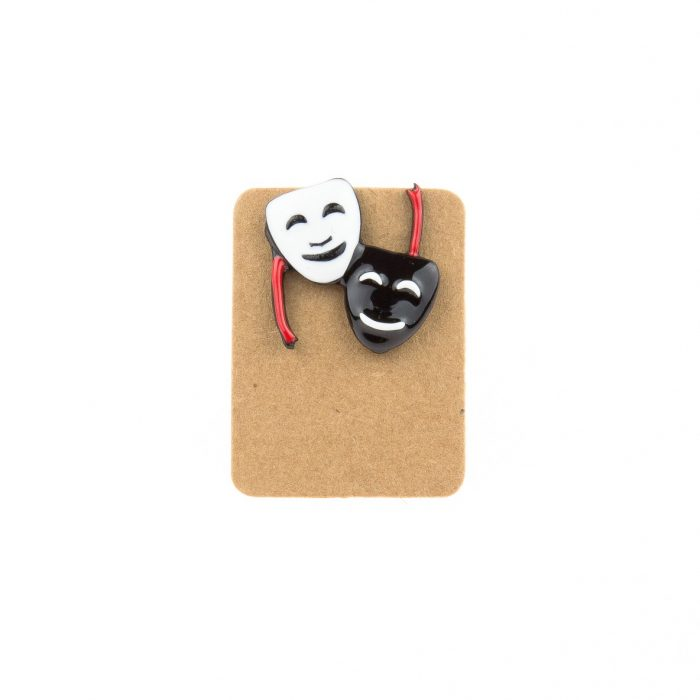 Metal Theater Mask Enamel Pin Badge