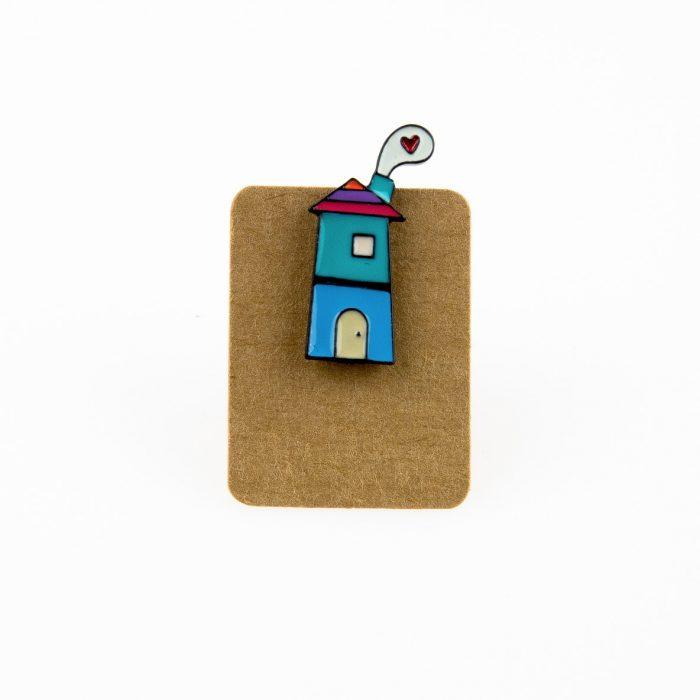Metal Home Heart Smoke Enamel Pin Badge