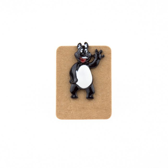 Metal Black&White Bear Enamel Pin Badge