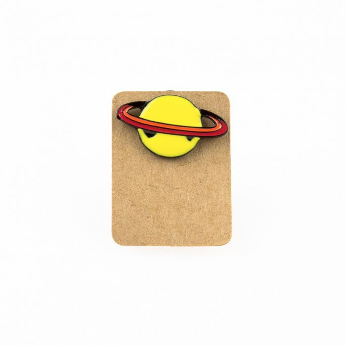 Metal Saturn Planet yellow Enamel Pin Badge