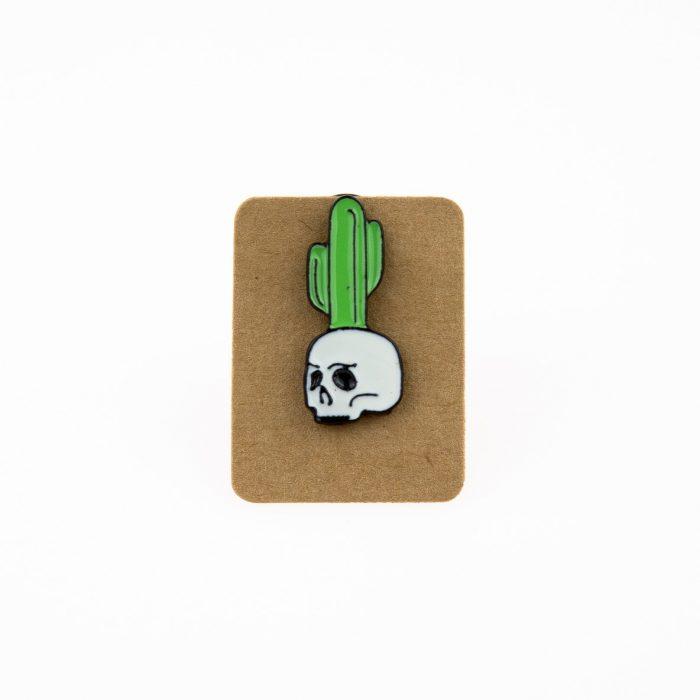 Metal Skull Cactus Enamel Pin Badge