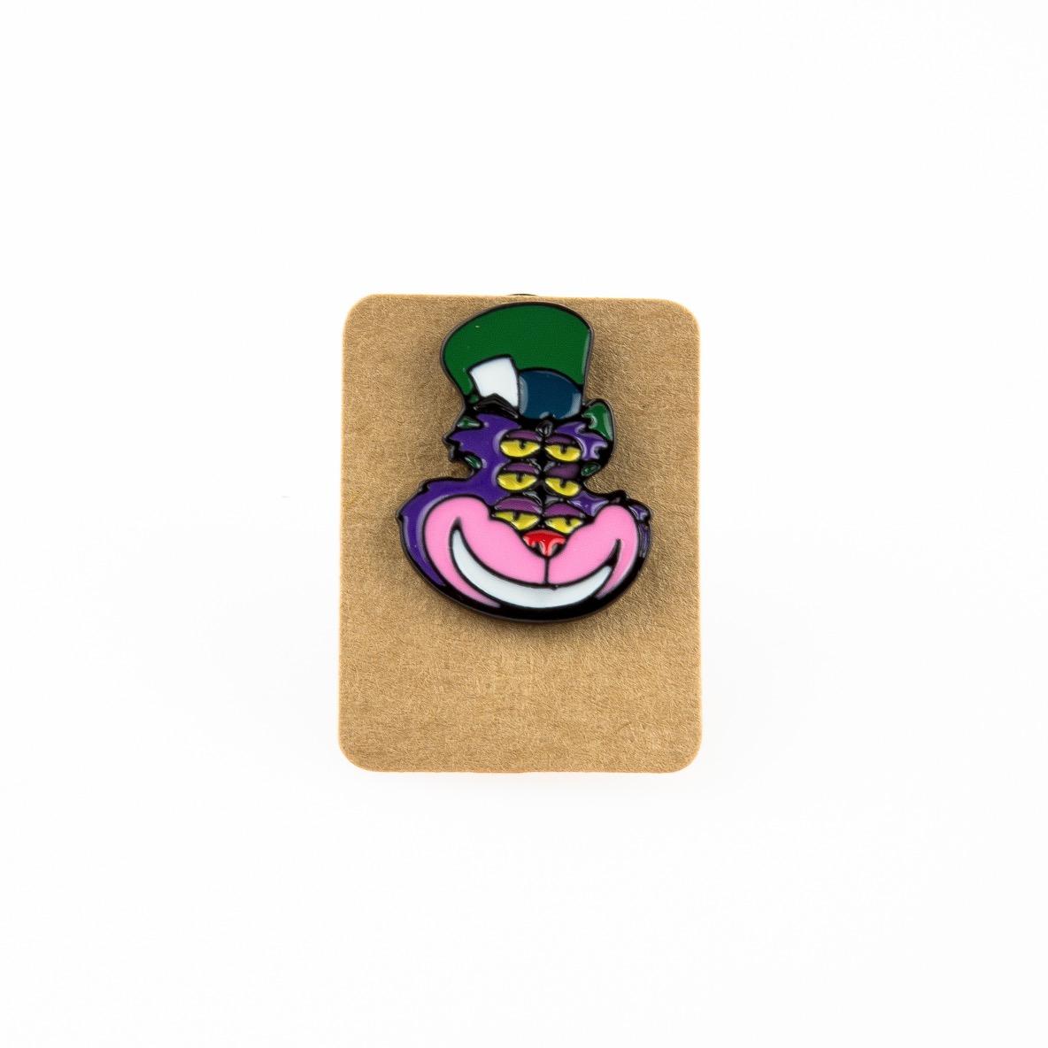 Metal Purple Cat Alice Enamel Pin Badge
