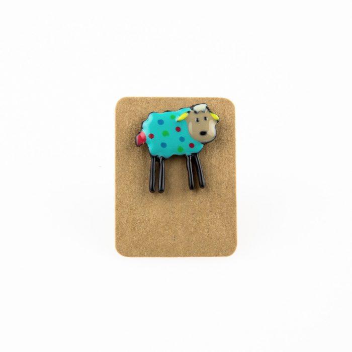 Metal Blue Sheep Dots Enamel Pin Badge