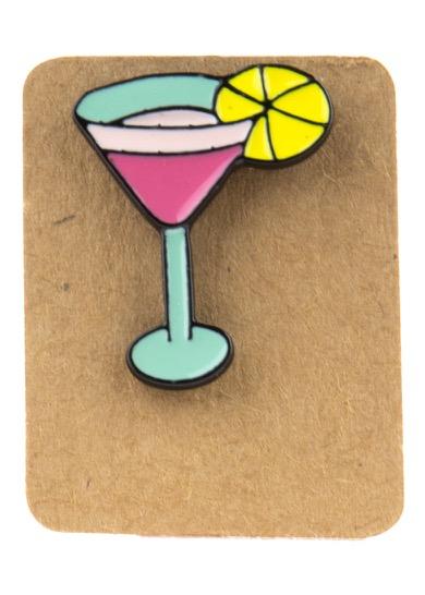 Metal Pink Cocktail Enamel Pin Badge