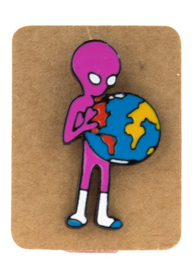 Metal Alien Holding Earth Enamel Pin Badge