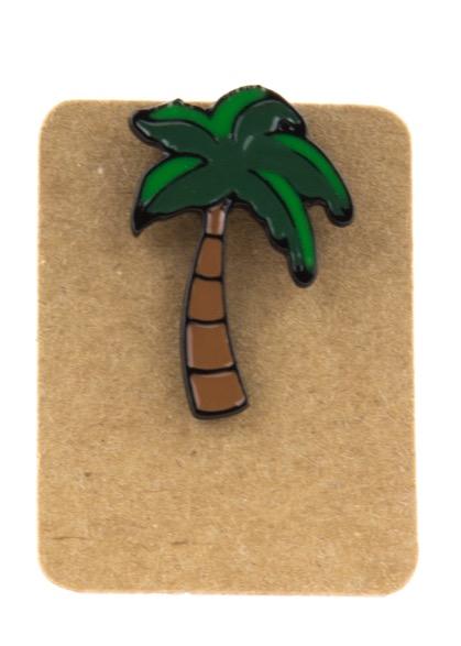 Metal Palm Tree Enamel Pin Badge