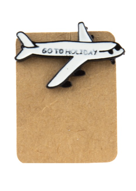 Metal Airplane Go To Holiday Enamel Pin Badge