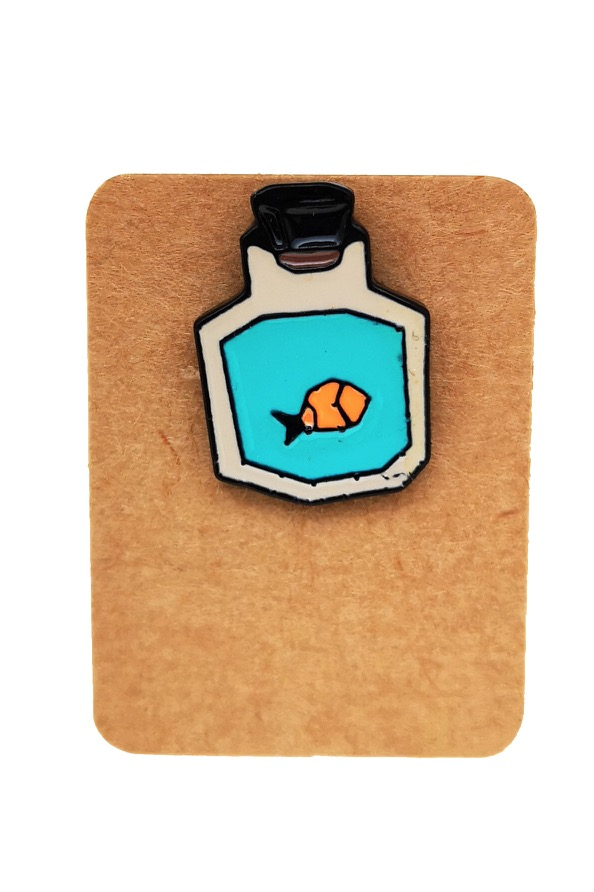 Metal Fish Perfume Bottle Enamel Pin Badge
