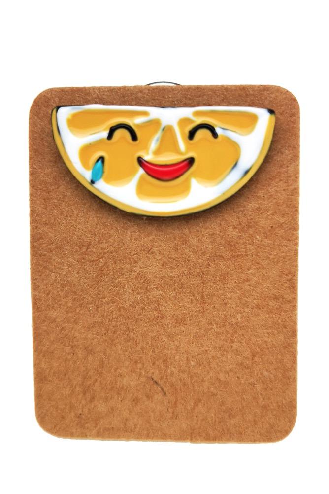 Metal Lemon Slice Smile Enamel Pin Badge