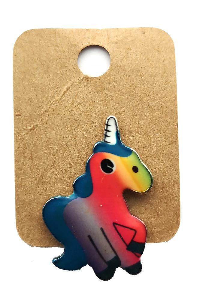 Metal Rainbow Unicorn Enamel Pin Badge