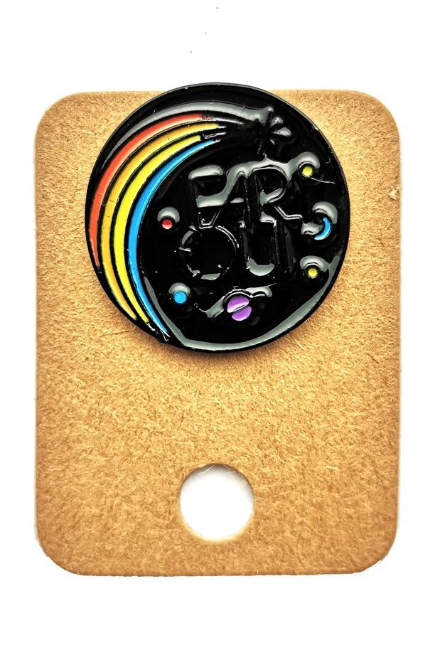 Metal Black Planet Far Out Saturn Enamel Pin Badge