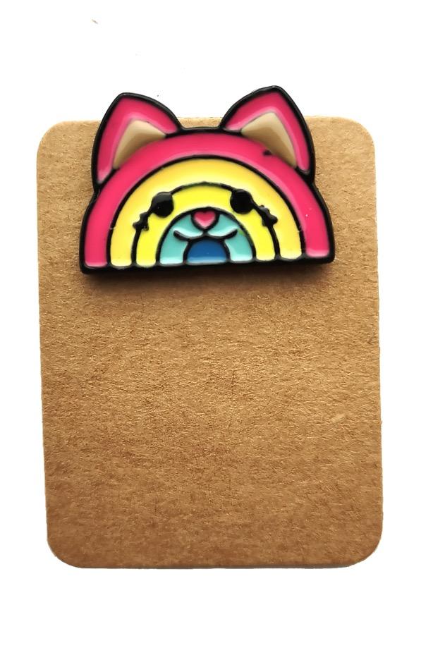Metal Rainbow Cat Enamel Pin Badge