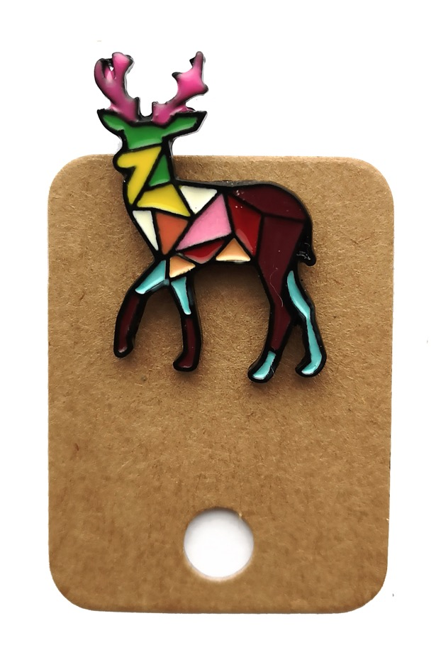 Metal Geometric Colourful Deer Stag Enamel Pin Badge