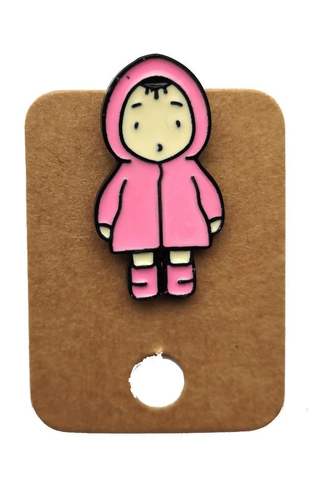 Metal Pink Coat Girl Enamel Pin Badge