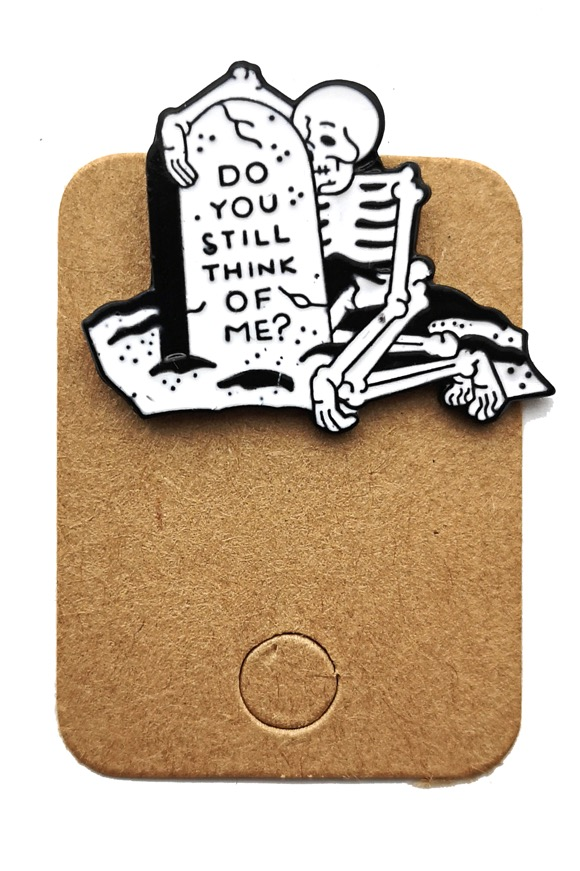 Metal Skeleton Think Of Me Enamel Pin Badge