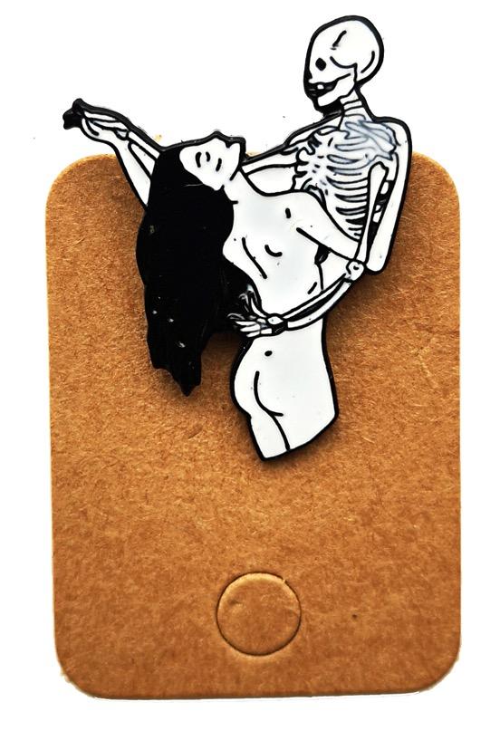 Metal Skeleton Dancing with Girl Enamel Pin Badge