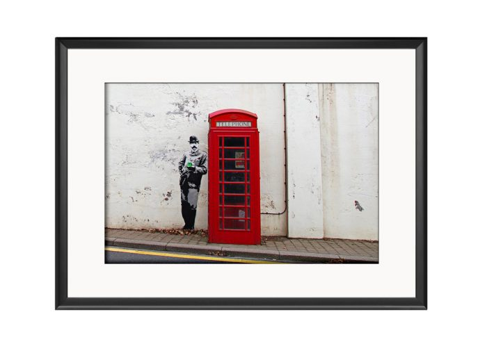 Man Holding Phone Booth  Photo Print